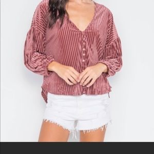 Ribbed Velvet Loose fit button front top rose